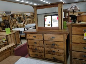 Barnwood Deluxe Oak 8 Drawer Dresser - Mirror Sold Seperate